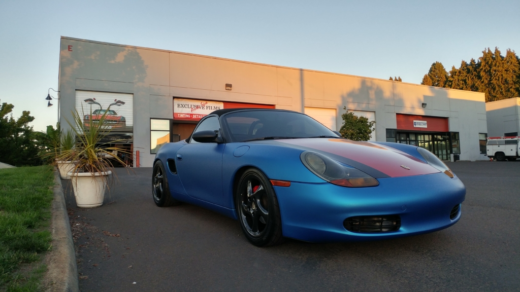 Blue car with window tinting in Vancouver, WA